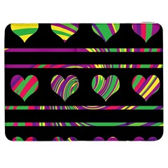 Colorful Harts Pattern Samsung Galaxy Tab 7  P1000 Flip Case by Valentinaart