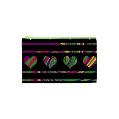 Colorful Harts Pattern Cosmetic Bag (xs) by Valentinaart