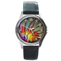 Fractal Bird Of Paradise Round Metal Watch by WolfepawFractals