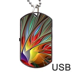 Fractal Bird Of Paradise Dog Tag Usb Flash (one Side) by WolfepawFractals