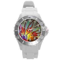 Fractal Bird Of Paradise Round Plastic Sport Watch (l) by WolfepawFractals