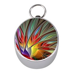 Fractal Bird Of Paradise Silver Compass (mini) by WolfepawFractals