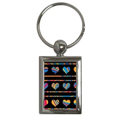 Colorful Harts Pattern Key Chains (rectangle)  by Valentinaart