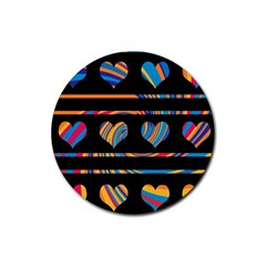 Colorful Harts Pattern Rubber Coaster (round)  by Valentinaart