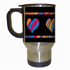 Colorful Harts Pattern Travel Mugs (white) by Valentinaart