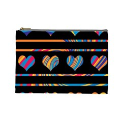 Colorful Harts Pattern Cosmetic Bag (large)  by Valentinaart