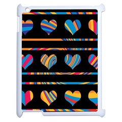 Colorful Harts Pattern Apple Ipad 2 Case (white) by Valentinaart