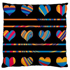 Colorful Harts Pattern Large Cushion Case (two Sides) by Valentinaart