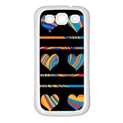 Colorful Harts Pattern Samsung Galaxy S3 Back Case (white) by Valentinaart