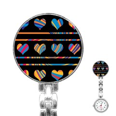 Colorful Harts Pattern Stainless Steel Nurses Watch by Valentinaart