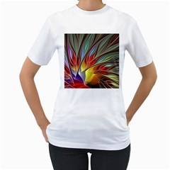 Fractal Bird Of Paradise Women s T Shirt (white) (two Sided) by WolfepawFractals