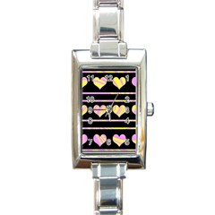 Pink And Yellow Harts Pattern Rectangle Italian Charm Watch by Valentinaart