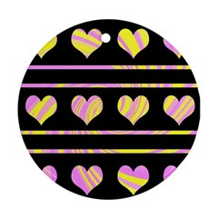 Pink And Yellow Harts Pattern Ornament (round)  by Valentinaart