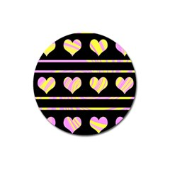 Pink And Yellow Harts Pattern Magnet 3  (round) by Valentinaart