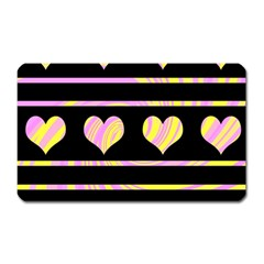 Pink And Yellow Harts Pattern Magnet (rectangular) by Valentinaart