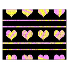 Pink And Yellow Harts Pattern Rectangular Jigsaw Puzzl by Valentinaart