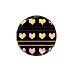 Pink And Yellow Harts Pattern Hat Clip Ball Marker (4 Pack) by Valentinaart