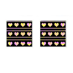 Pink And Yellow Harts Pattern Cufflinks (square) by Valentinaart