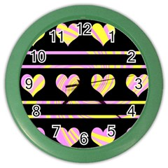 Pink And Yellow Harts Pattern Color Wall Clocks by Valentinaart