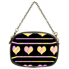 Pink And Yellow Harts Pattern Chain Purses (two Sides)  by Valentinaart