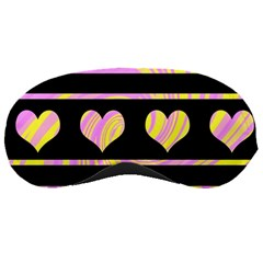 Pink And Yellow Harts Pattern Sleeping Masks by Valentinaart