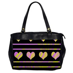 Pink And Yellow Harts Pattern Office Handbags by Valentinaart