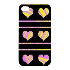 Pink And Yellow Harts Pattern Apple Iphone 4/4s Premium Hardshell Case by Valentinaart