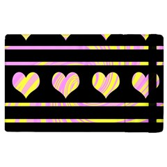Pink And Yellow Harts Pattern Apple Ipad 2 Flip Case by Valentinaart