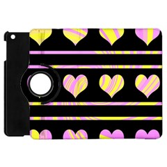 Pink And Yellow Harts Pattern Apple Ipad Mini Flip 360 Case by Valentinaart
