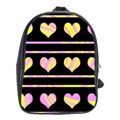 Pink And Yellow Harts Pattern School Bags (xl)  by Valentinaart