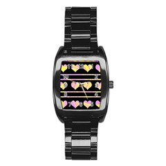Pink And Yellow Harts Pattern Stainless Steel Barrel Watch by Valentinaart