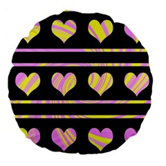 Pink And Yellow Harts Pattern Large 18  Premium Flano Round Cushions by Valentinaart