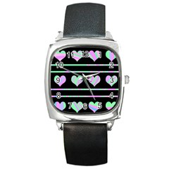 Pastel Harts Pattern Square Metal Watch by Valentinaart