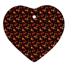 Exotic Colorful Flower Pattern Ornament (heart)  by Brittlevirginclothing