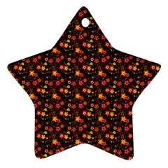 Exotic Colorful Flower Pattern Ornament (star)  by Brittlevirginclothing