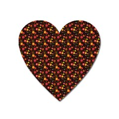 Exotic Colorful Flower Pattern Heart Magnet by Brittlevirginclothing