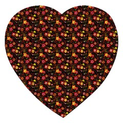 Exotic Colorful Flower Pattern Jigsaw Puzzle (heart) by Brittlevirginclothing