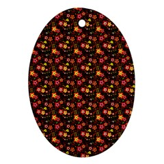 Exotic Colorful Flower Pattern Oval Ornament (two Sides) by Brittlevirginclothing