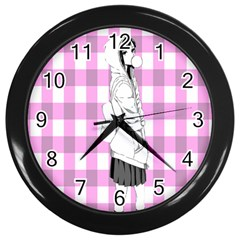 Cute Anime Girl Wall Clocks (black) by Brittlevirginclothing
