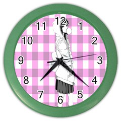Cute Anime Girl Color Wall Clocks by Brittlevirginclothing