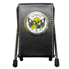 Coat Of Arms Of The Central African Republic Pen Holder Desk Clocks by abbeyz71