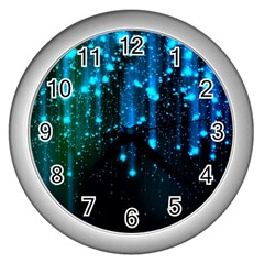Abstract Stars Falling Wall Clocks (silver)  by Brittlevirginclothing