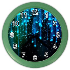 Abstract Stars Falling Color Wall Clocks by Brittlevirginclothing