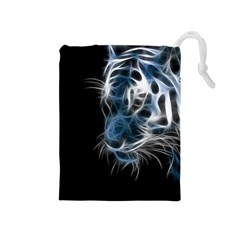 Ghost Tiger  Drawstring Pouches (medium)  by Brittlevirginclothing