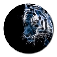 Ghost Tiger Round Mousepads by Brittlevirginclothing
