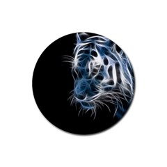 Ghost Tiger Rubber Coaster (round)  by Brittlevirginclothing