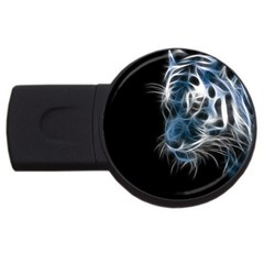 Ghost Tiger Usb Flash Drive Round (4 Gb)  by Brittlevirginclothing