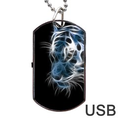 Ghost Tiger Dog Tag Usb Flash (one Side) by Brittlevirginclothing