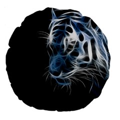 Ghost Tiger Large 18  Premium Flano Round Cushions by Brittlevirginclothing