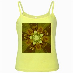 Elegant Antique Pink Kaleidoscope Flower Gold Chic Stylish Classic Design Yellow Spaghetti Tank by yoursparklingshop